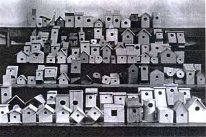 Nestboxes, constructed during a school project? NY? 1912? Photo scanned by Keith Kridler from a magazine.