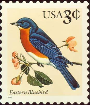 3 cent Eastern Bluebird Stamp, 1996